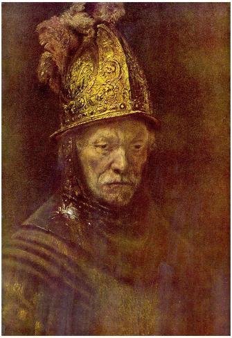 Rembrandt Harmensz. van Rijn (School) (The man with the golden helmet) Art Poster Print Poster