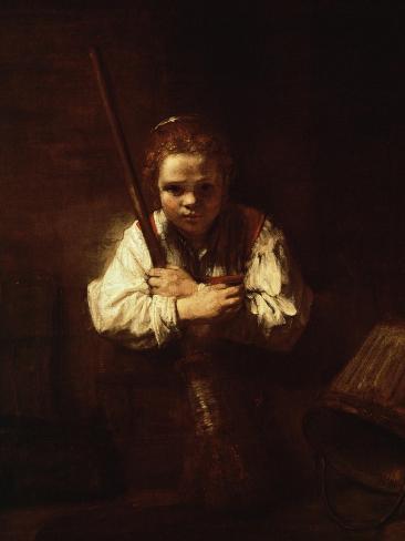 Girl with a Broom, 1640 Giclee Print