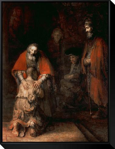 Return of the Prodigal Son, circa 1668-69 Framed Canvas Print