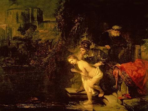 Susanna and the Elders, 1647 (Oil on Mahogany Panel) Impressão giclée