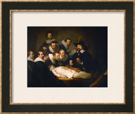 The Anatomy Lesson of Dr. Nicolaes Tulp Impressão giclée emoldurada