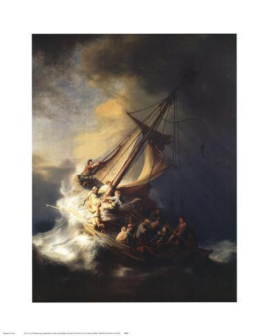 Tormenta sobre el mar de Galilea Lámina