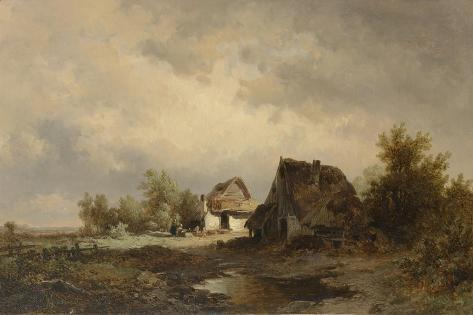 Landscape with Two Cabins and Barns Between Trees on the Heath, in the Foreground a Puddle Premium Giclee Print