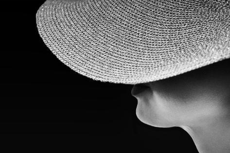 Woman Silhouette in Black and White Photo, Artistic Photo of Woman,Woman in Hat Fragment Photo, Con Photographic Print