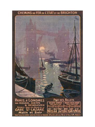 By Rail and Sea from Paris to Brighton or London Featuring the Thames and Tower Bridge Giclee Print