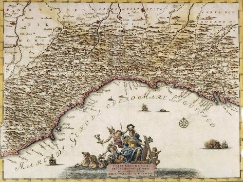 Republic of Genoa, Map by Guillaume De L'Isle From, the Present State of the World, Venice, 1751 Giclee Print