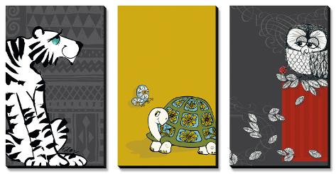 Retro Animals Triptych Canvas Art Set