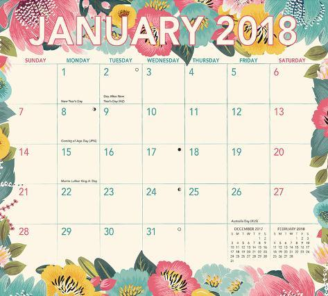 retro days magnetic 2018 monthly calendar pad
