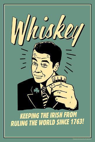 Whiskey Keeping Irish From Running World Since 1763 Funny Retro Plastic Sign Muovikyltit