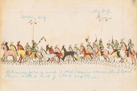 Returning from a Raid to Old Mexico across the Staked Plains with a Herd of Stock Captured, 1874-75 Stampa giclée