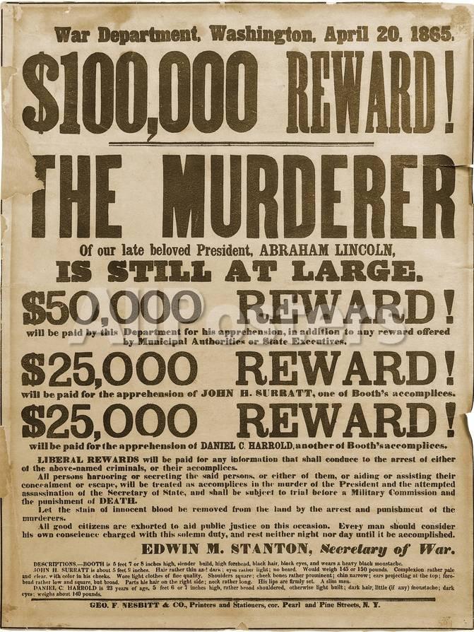 reward poster of lincoln assassins print at allposters com