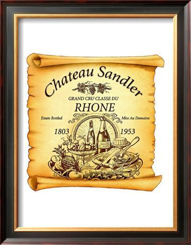 Rhone Wine Label Framed Giclee Print