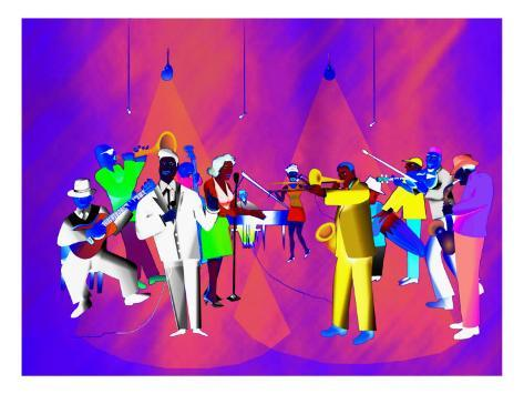 Impressionist Ethnic Big Band Performing on Golden Stage Giclee Print
