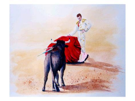Matador Holds Red Cape Up to Bull Giclee Print