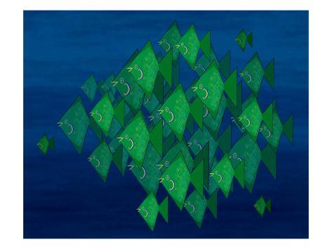 School of Green Triangle Fish on Blue Underwater Background Giclee Print