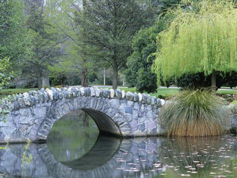 A Stone Bridge in Queenstown Gardens Photographic Print