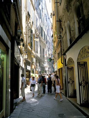 Via San Luca, in Old City of Genoa (Genova), Liguria, Italy Photographic Print