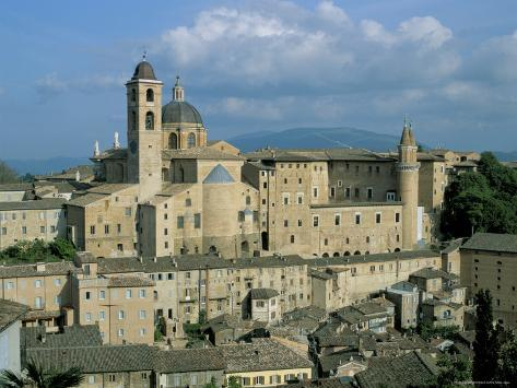 View from the North of the Old Centre of Urbino with the Cathedral Left and Palazzo Ducale Right Photographic Print