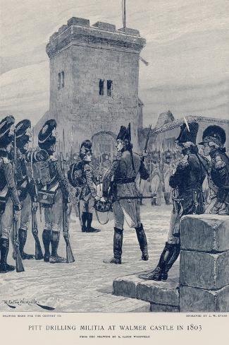 Pitt Drilling Militia at Walmer Castle in 1803 Lámina giclée
