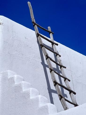 Architectural Detail with Ladder, Taos, New Mexico, USA Photographic Print