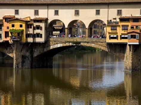 Arno River and Ponte Vecchio, Florence, UNESCO World Heritage Site, Tuscany, Italy, Europe Photographic Print