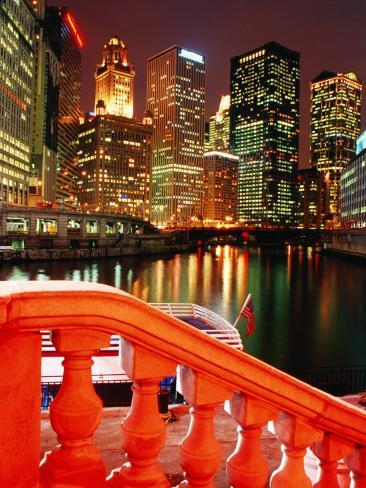 Chicago River and City Buildings at Night from Michigan Avenue Bridge, Chicago, USA Photographic Print