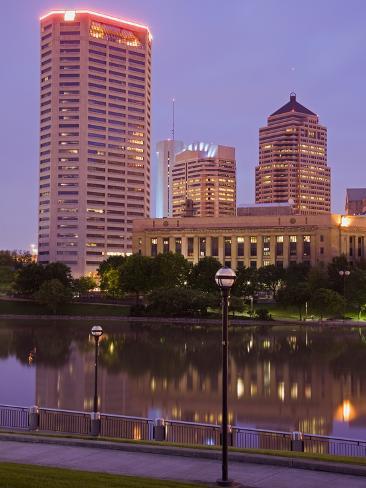 City Skyline and the Scioto River, Columbus, Ohio, United States of America, North America Photographic Print