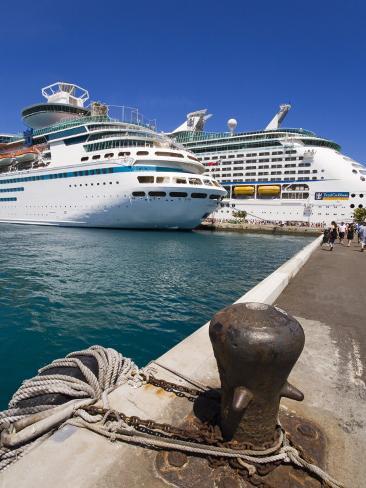 Cruise Ships at Prince George Wharf, Nassau, New Providence Island, Bahamas, West Indies Photographic Print