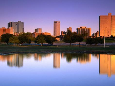 Fort Worth Reflected in the Trinity River Park, Fort Worth, Texas Photographic Print