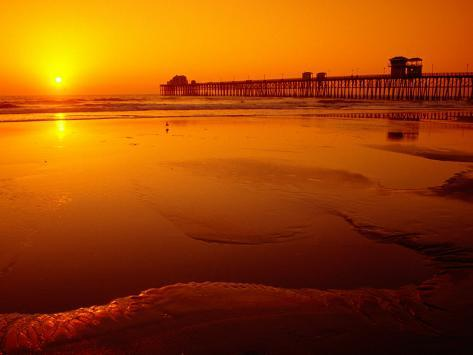 Oceanside Pier at Sunset, North County, San Diego, United States of America Photographic Print