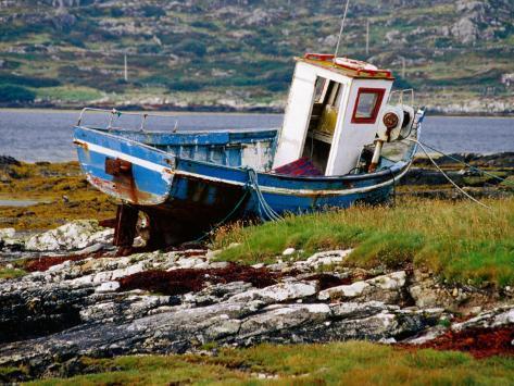 Old Fishing Boat Hauled up on Shore, Manin Bay, Connemara, Ireland Photographic Print