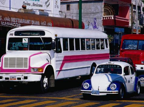 Public Buses and Taxis in Old Town, Acapulco, Mexico Photographic Print