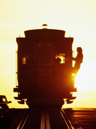 Silhouetted Cable Car, California Street, San Francisco, United States of America Photographic Print