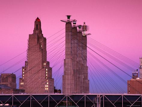 Sky Stations and Pylon Caps at Convention Center, Kansas City, Missouri Photographic Print