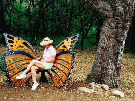 Woman Sitting In Butterfly Chair At Botanical Gardens, Zilker Park, Austin,  Texas