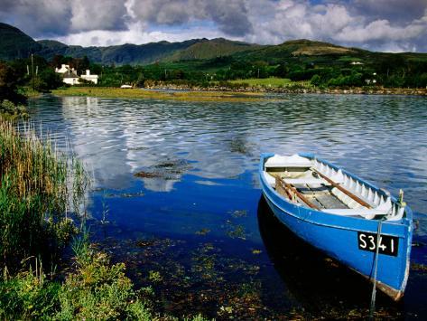Wooden Boat Tied up on Beara Peninsula, Adrigole, Ireland Photographic Print