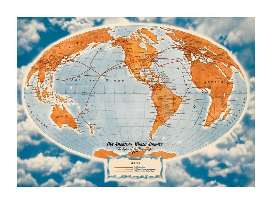 World Route Map Pan American World Airways The System Of The