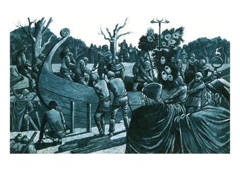 Artist's Impression of the Anglo-Saxon Ship-Burial at Sutton Hoo Giclee Print
