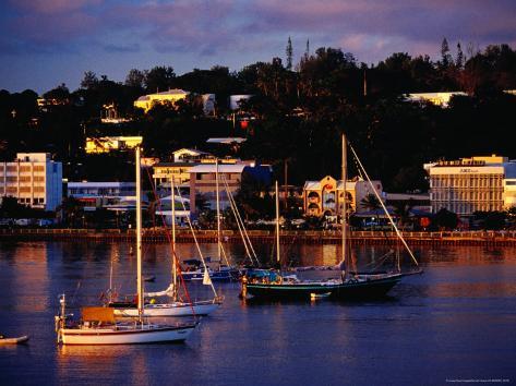Boats in Harbour and Town Buildings, Port Vila, Vanuatu Photographic Print