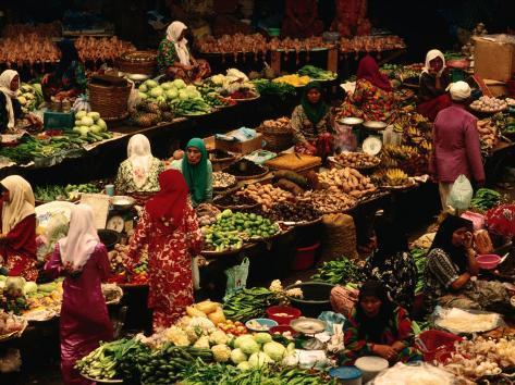 Food Stalls and People at Central Market, Kota Bharu, Kelantan, Malaysia Photographic Print
