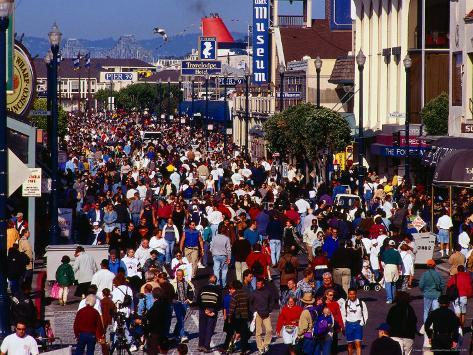 Holiday Crowds at Fisherman's Wharf on Fourth of July, San Francisco, California, USA Photographic Print