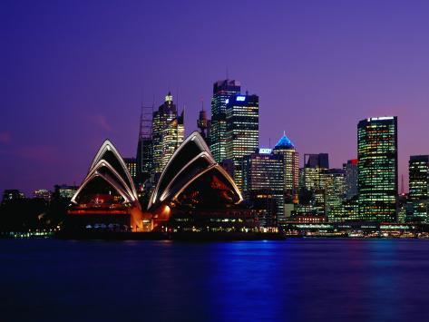 Opera House and City Skyline at Dusk, Sydney, Australia Photographic Print