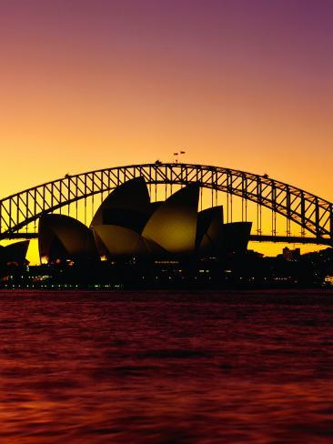 Sydney Opera House and Sydney Harbour Bridge at Sunset, Sydney, Australia Photographic Print