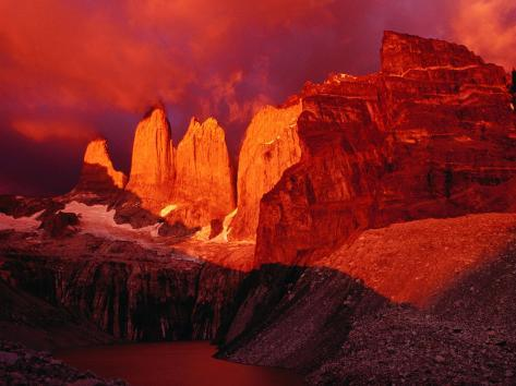The Torres Del Paine (Towers of Paine) at Sunrise, Patagonia, Chile Photographic Print