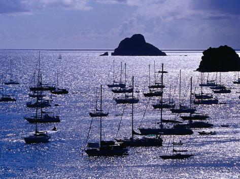 Yachts and Les Gros Islets Silhouetted Against the Caribbean Sea Photographic Print