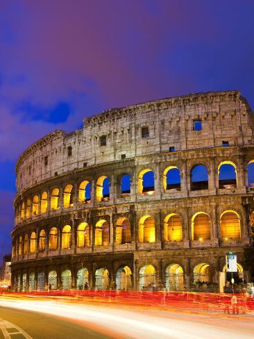 Colosseum and Traffic on Via Del Fori Imperiali Photographic Print