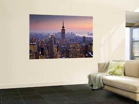 Empire State Building from Rockefeller Center at Dusk Wall Mural
