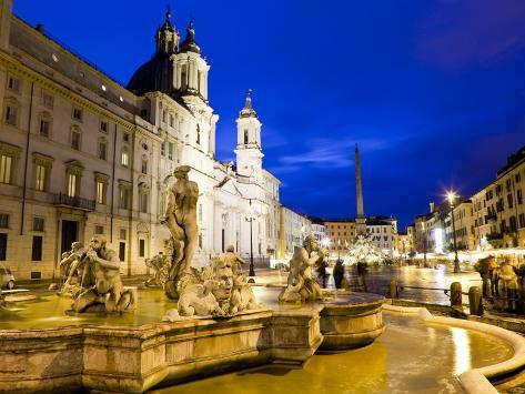 Fontana Del Moro and Church of Sant'Agnese in Agone at Piazza Navona Photographic Print