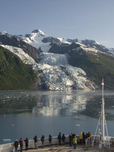 Passengers on Cruise Ship Viewing the Vasser Glacier, College Fjord, Inside Passage, Alaska Photographic Print