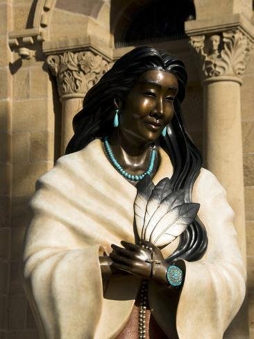 Statue of Kateri Tekakwitha, the Cathedral Basilica of St. Francis of Assisi, Santa Fe, New Mexico, Photographic Print